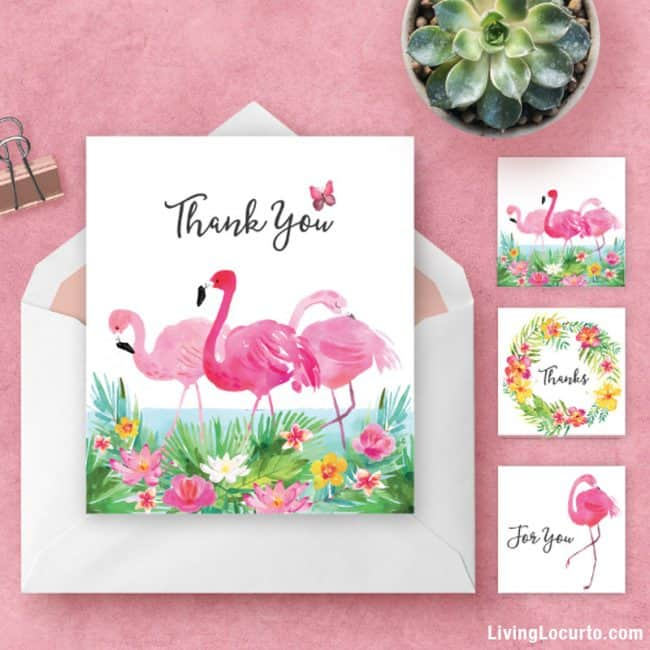 Tropical Flamingo Thank You Card and Gift Tags. Get Printables Each Month! Join the Living Locurto Fun Club for access to the best printables! Print party designs, birthday cards and more!