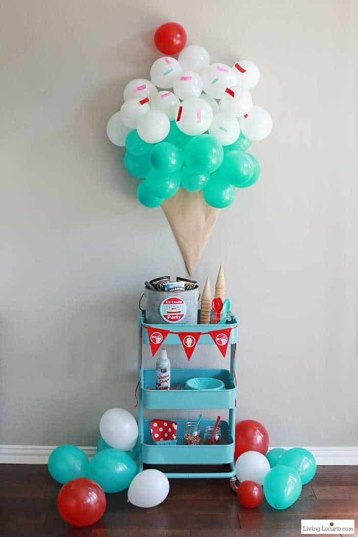 Ice Cream Social Party Ideas. Learn how to make an ice cream cone balloon backdrop, decorate a food cart with printables.